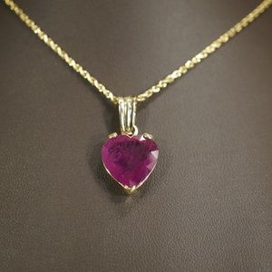 14KY Gold Heart Shape Genuine Ruby Pendant W/Chain